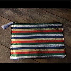 Beautiful metallic striped brand new J.Crew clutch
